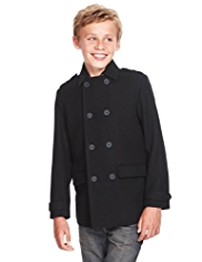 Autograph Double Breasted Pea Coat with Wool