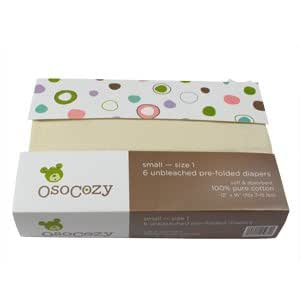 OsoCozy Prefolds Unbleached Cloth Diapers, Size 1, 6 Count