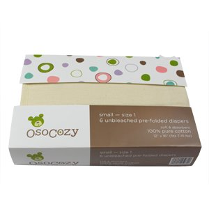 OsoCozy 6 Pack Prefolds Unbleached Cloth Diapers, Size 1