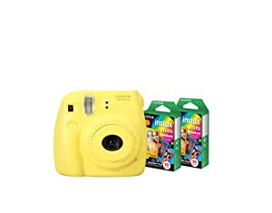 Fujifilm Instax Mini 8 Yellow Camera + Mini Rainbow Colored Border 20 images