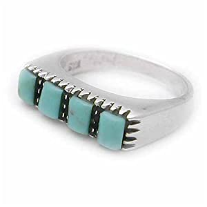 Sterling Silver Ring with Square Turquoise Stones