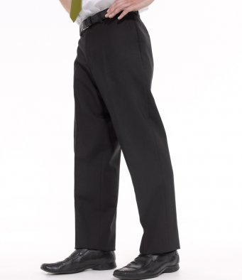 Flat Fronted Polyester/Wool Trousers