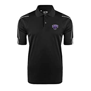 Central Arkansas Adidas ClimaLite Black 3 Stripe Cuff Polo