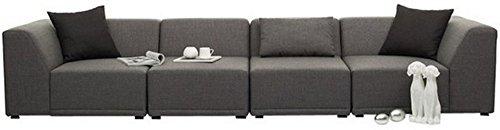 FabHomeDecor Alia Modular Five Seater L-Shaped Sofa (Grey)