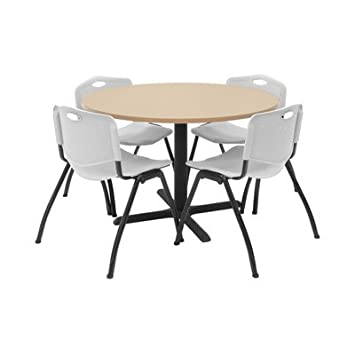 "Hospitality 42"" Round Table with Chairs Chair Color: Grey Plastic"
