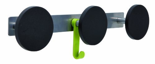 Alba Triple Plastic Peg Wall Coat Rack With 1 Plastic Hook, Metallic Gray With Black Accents (Pms3) front-443367