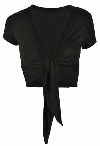New Ladies Short Sleeve Tie Front Womens Shrug Cardigan Wrap Over Top