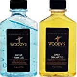 Woodys Power Duo Set (2.5oz Daily Shampoo/2.5oz Mega Firm Gel), Travel Size Bottles