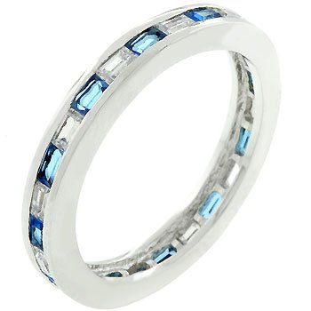 Baguette Sapphire and Clear Cubic Zirconia CZ Silver Tone Eternity Stacker Anniversary Ring (Size 5,6,7,8,9,10)