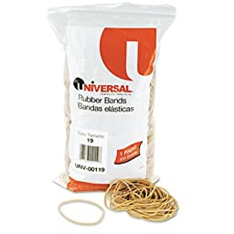 6 Pack Rubber Bands, Size 19, 3-1/2 x 1/16, 1240 Bands/1lb Pack by UNIVERSAL (Catalog Category: Paper, Pens & Desk Supplies / Rubber Bands)