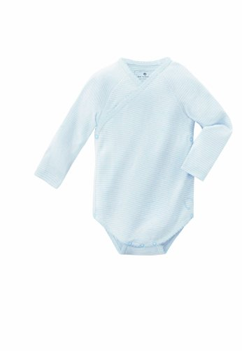 Bellybutton Kids Baby - Jungen Babybekleidung/ Unterwäsche/ Jumper, gestreift 10374-00-40440 langarm Wickelbody, white / soft blue-striped, Gr. 68, Blau (white / soft blue-striped)