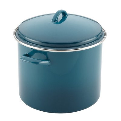 Rachael Ray Hard Enamel on Steel Covered Stockpot, 12-Quart, Marine Blue