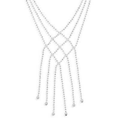 16.5 Inch Triple Strand Faceted Bead Necklace with Six Strand Drop