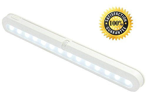 Battery Operated Motion Sensor Light - JEBSENS T01 LED Closet Light, Under Cabinet Led Lighting, Motion Sensor Light Switch, 14 Bright Cool White LED, Adjustable Wireless Portable, On/Off/Auto Modes (Kitchen Cabinet Light Switch compare prices)
