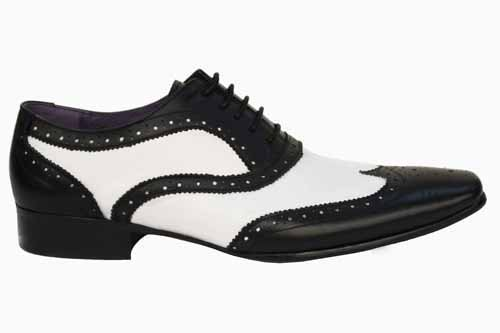 G976AG Mens Gucinari Black White Leather Two Tone Brogues Shoes UK Size 7