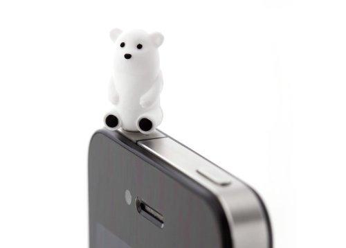 Bone Polar Bear Silicone Anti Dust Plug Earphone Cap Jack Headphone Port Stopper Caps For Smartphones Tablet Notebook With 3.5Mm Headphone Ports For Apple Iphone Ipod 3 3G 3Gs 4 4Gs 4S Iphone 3 4 4S 5/Ipad 1 2 3 /Ipad Mini/ Samsung Galaxy Tab 10.1 P7500 P