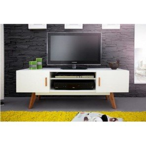 Mobile da TV, colore: bianco, 2 porte, 4 piedi, in legno di quercia Vintage