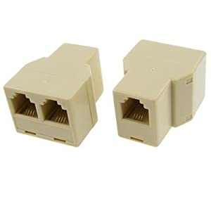 2 pcs rj11 1 to 2 female plug telephone modular splitter. Black Bedroom Furniture Sets. Home Design Ideas