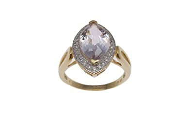 Carissima Gold 9 ct Yellow Gold 0.15 ct Diamond Marquise Ring