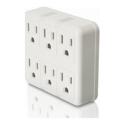 Master Electrician Ps23U-Wh 6-Grounded Outlet In-Wall Adapter, White