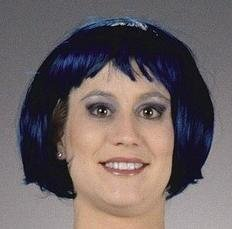 20s Funky Flapper Wig (Black/Dark Blue) Adult Halloween Costume Accessory
