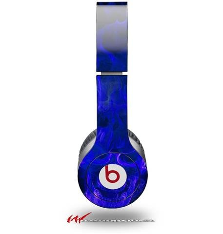 Flaming Fire Skull Blue Decal Style Skin (Fits Genuine Beats Solo Hd Headphones - Headphones Not Included)