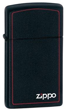 Zippo Slim Lighter Black Matte w Zippo and Border