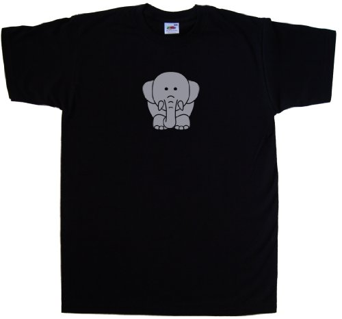 Cartoon Elephant Black T-Shirt (Silver print)-XXXX-Large