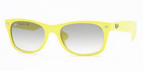 Ray Ban Unisex Rb2132 New Wayfarer Fluorescent Yellow Frame/Grey Gradient Lens Plastic Sunglasses, 55mm
