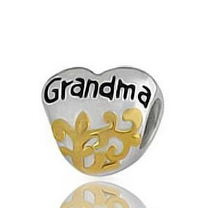 Everbling Grandma Grandmother Heart Authentic 925 Sterling Silver Charm Bead Fits Pandora Chamilia Biagi Troll Charms Europen Style Bracelets