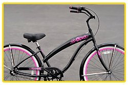 Aluminum Frame, Fito Modena EX Alloy Shimano 3-speed women's Black/Pink Beach Cruiser Bike Bicycle Micargi Firmstrong Schwinn Style BOD