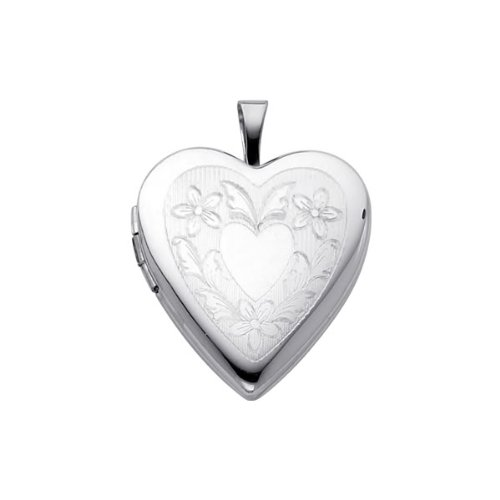 Sterling Silver Engraved Heart Locket Pendant (0.8