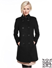 Best of British Pure Wool Leather Trim Coat