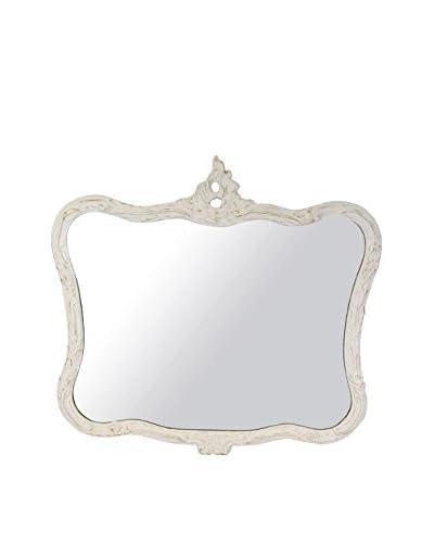 Uptown Down Vintage White Decorative Mirror, White/Glass