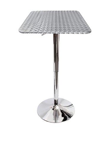 Lumisource Square Bistro Bar Table, Silver Swirl