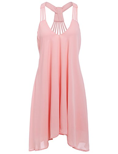 ROMWE Women's Summer Sexy Sleeveless Strappy Swing Dress Pink M