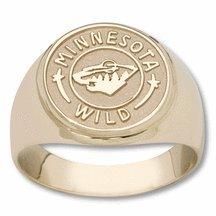 "Minnesota Wild 5/8"" Circle Logo Men's Ring - 10KT Gold Jewelry"