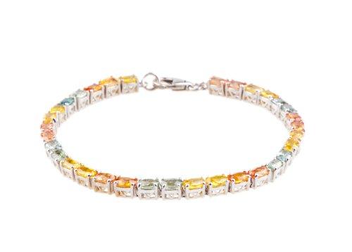 ANYA Multi Sapphire Studded Sterling Silver Bracelet