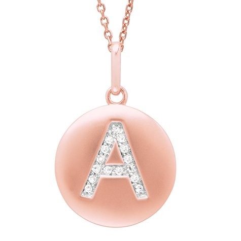 14K Rose Gold Diamond Initial A Disc Pendant