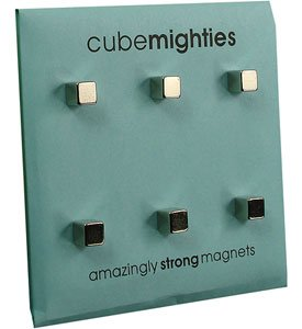 Three By Three Seattle Cube Mighties Magnets, 3/16 Inch, Chrome, 6 Pack, 20300