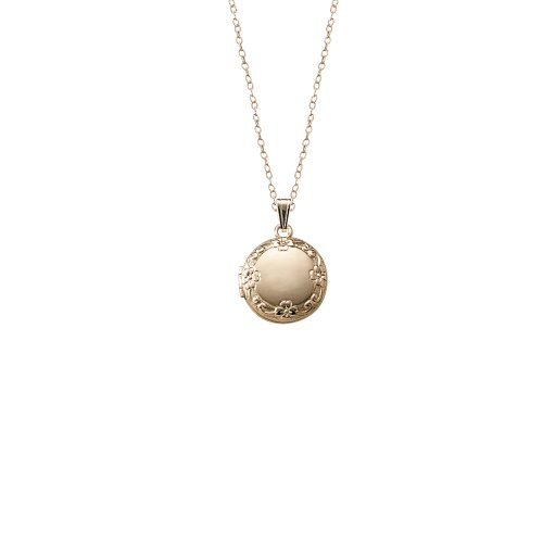 Children's 14k Gold-Filled Embossed Edge Round Locket Necklace, 15