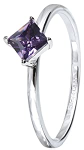 Stack Ring Co Sterling Silver Rhodium Plated Diamond Four Claw Setting Amethyst Cubic Zirconia Stack Ring - Size P 1/2
