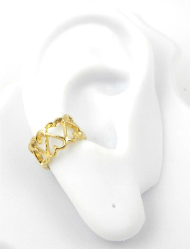 Gold Vermeil Heart Band Ear Cuff Earring
