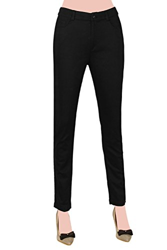 Women's Relaxed Stretch Casual Jeans Classic 5 bags of Pocket (L, Black1)