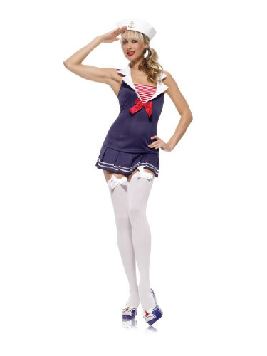 2 Piece Sailor Cadet Costume with Accessories in Blue, Sizes Extra Small (UK 6) – Medium/Large (UK 10-12)