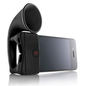 Black Silicone Horn Stand Amplifier Speaker For Iphone 4G - Ideal Gift