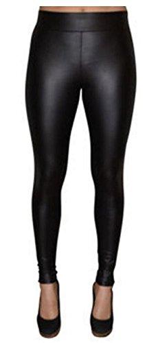 Matty M Women's Thick Legging Pants, Black Faux Leather!