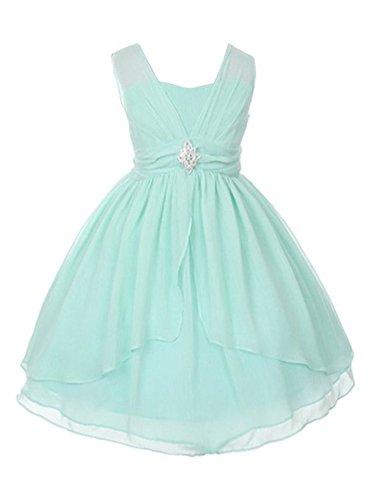 Kiki Kids Flower Girl Dress Double Layered Yoru Chiffon Dress 4 Mint