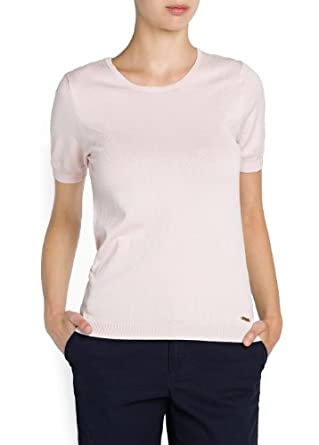 'Mango Women's Short Sleeved Essential Sweater, Light Pink, Xxs