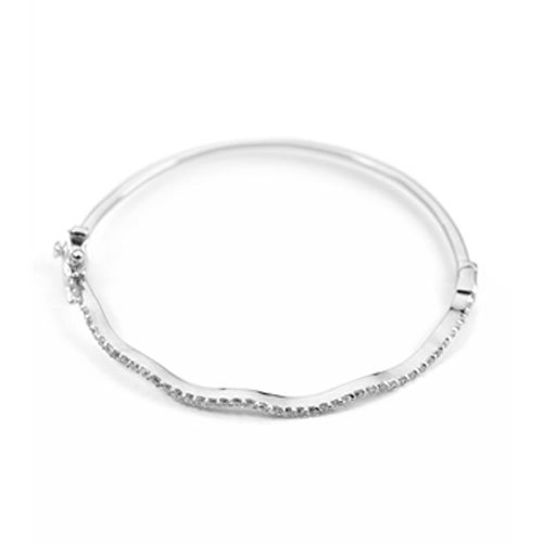 C.Z. Thin Wave Rhodium (.925) S/S Bangle (Nice Holiday Gift, Special Black Firday Sale)